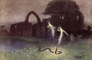 Will-o-the-wisp and snake by Hermann Hendrich 1823