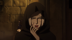 Carmilla shrouded in black robes