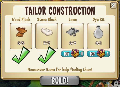 Tailor construction req