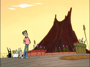 S1E20 - Champsley stands smugly while Volcano is about to explode