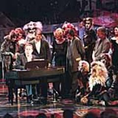 Andrew Lloyd Webber onstage with Broadway Cats