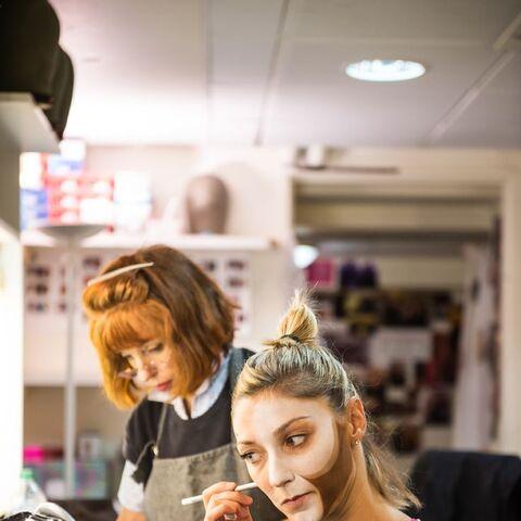 Karen Dawson teaching Cassandra makeup, Paris, 2015
