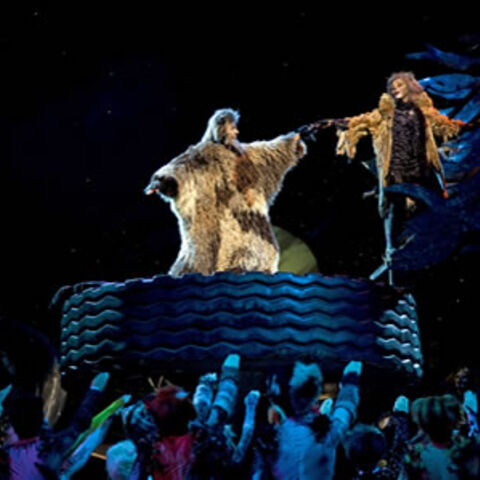 Grizabella and Old Deuteronomy reach out to each other in a moment inspired by Michelangelo's <i>The Creation of Adam</i>.