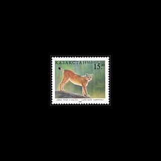 Рысь на почтовой марке Казахстана