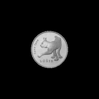 Рысь на литовской серебрянной монете 50 литов 2006 года