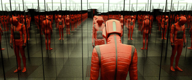 beyond the black rainbow man in red suit reflected in a multitude of mirrors