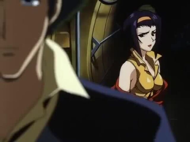Faye Valentine trying to stop Spike on Cowboy Bebop