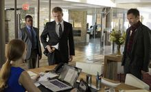 001 While You Were Sleeping episode still of Rebecca Ellison, Marcus Bell, Tommy Gregson and Sherlock Holmes