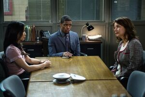 004 Blood Is Thicker episode still of Joan Watson, Marcus Bell and Natalie Gale