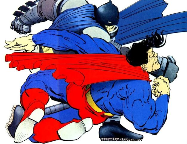 Batman Punches Superman Dark Knight Returns