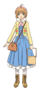 Blue Dress and Embroidered Yellow Cardigan