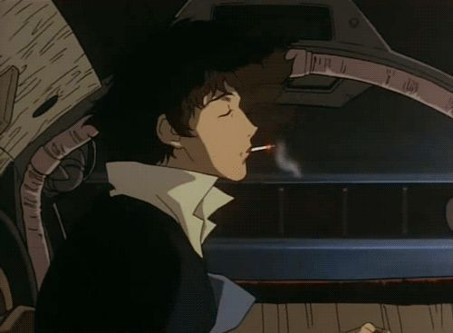 Spike from Cowboy Bebop smoking a cigarette