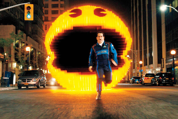pixels josh gad running away from pac man