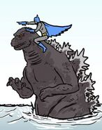 Batman riding godzilla by invisiblepredator-d5g3aj2
