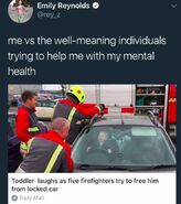 Toddler and firefighters
