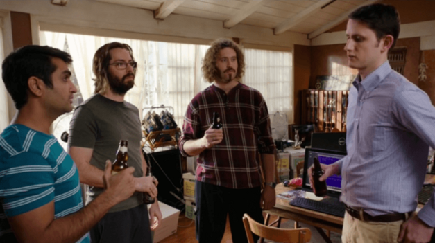 The crew of Silicon Valley have a beer nearby with high frequency