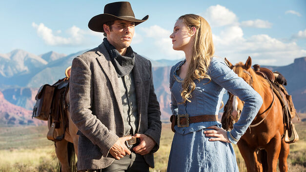James Marsden and Evan Rachel Wood in Westworld looking out at the horizon