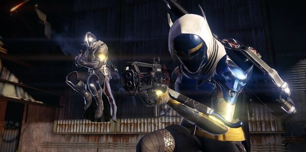 Two Guardians with some gear from Destiny Rise of Iron