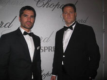 Film Producers Eduardo Verastegui and Sean Wolfington at the Chopard Party in Cannes
