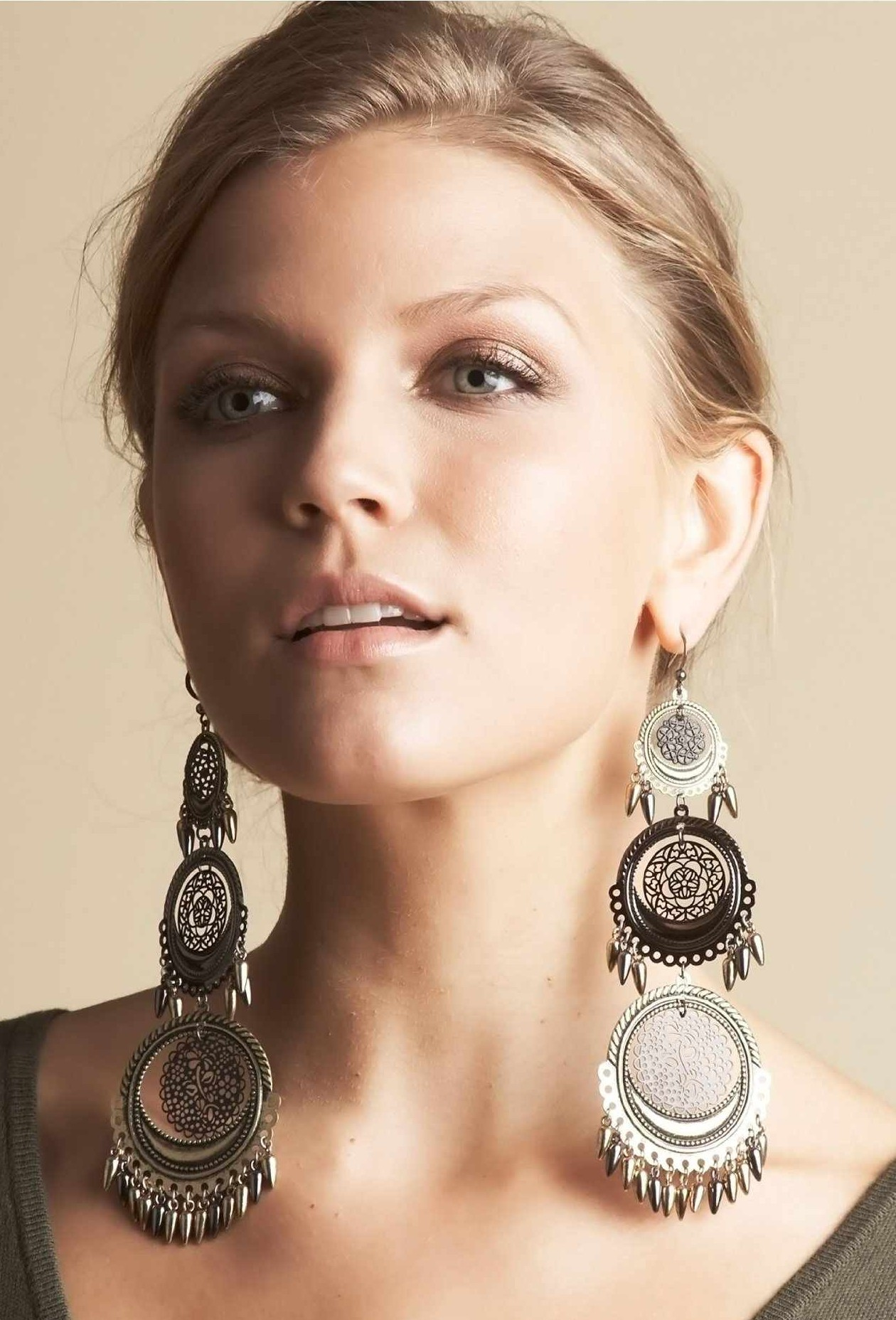 portrait with beautiful diamond image fashion girl photo woman earrings jewelry gorgeous stock