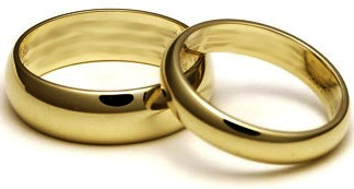 A Pair Of Plain Gold Band Wedding Rings