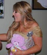 Chloë Agnew holding Best Friend Bear