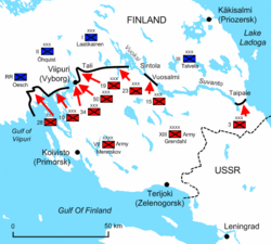 Diagram of the Karelian Isthmus illustrates the positions and offensives of the Soviet troops.