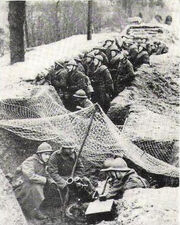 Belgian soldiers in a trench, 1940