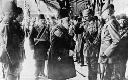 Sultan Mehmed V of Turkey greeting Kaiser Wilhelm II on his arrival at Constantinople