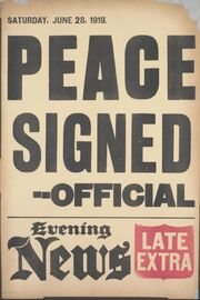 Evening News placard Versailles Treaty signed June 28 1919