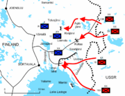 Diagram of the Lake Ladoga battles illustrates the positions and offensives of the Soviet troops. The Red Army invaded dozens of kilometres deep Finland, but stopped at points of Tolvajärvi, Kollaa and almost surrounded near the water of Lake Ladoga.