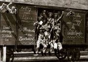 German soldiers in a railroad car on the way to the front during early World War I, taken in 1914. Taken from greatwar.nl site