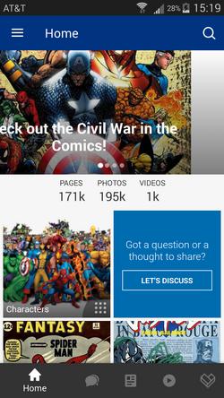 Marvel app home screen