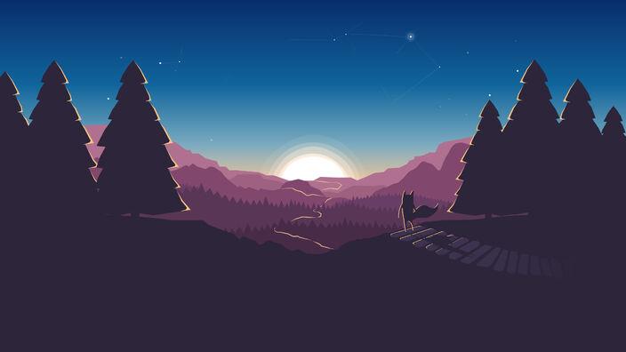 426396-horizon-minimalism-illustration-artwork-digital art-forest-sunset-Mozilla Firefox