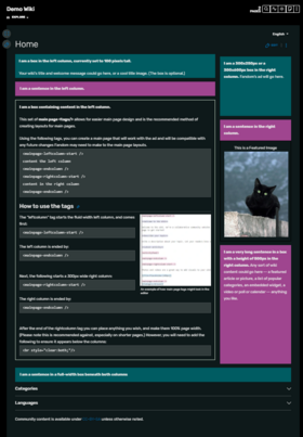 Main page example layout