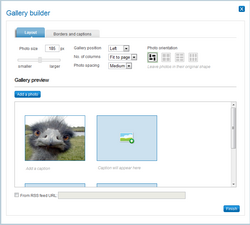 Gallery builder layout