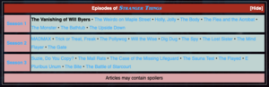 Screenshot of Stranger Things Episodes navbox