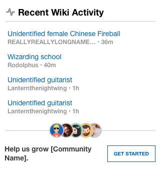Recent Wiki Activity with Community Page
