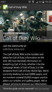 CoD wiki info screen Android