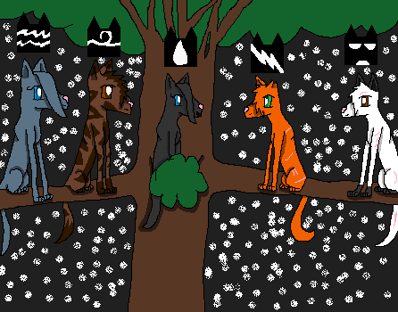 File:The gathering; left to right; mistystar, onestar, rainstar,firestar,blackstar.png