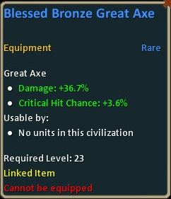 Blessed bronze great axe lv23