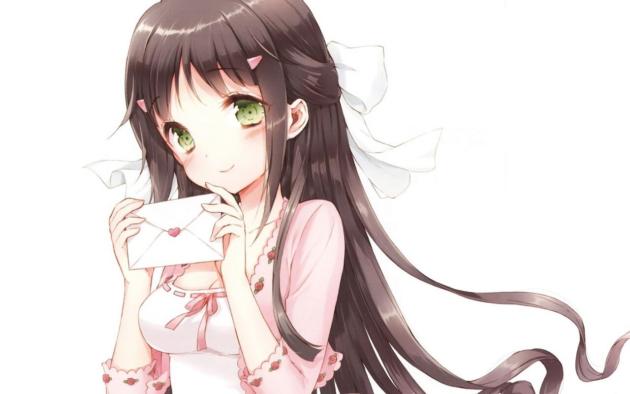 Long Hair Green Eyes Blush ANime Girls Letter White Background Black Tsuruma Konoe Kono Naka Ni