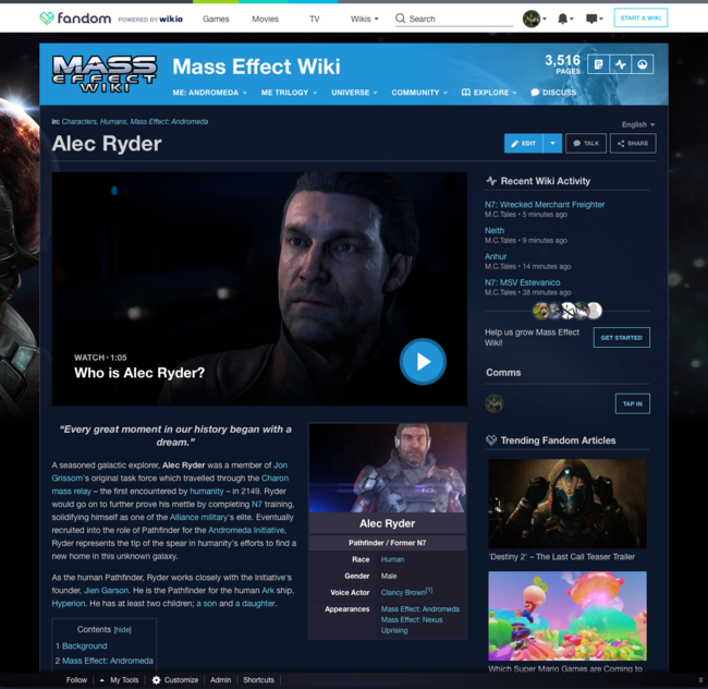 Mass Effect Page Header Logged In