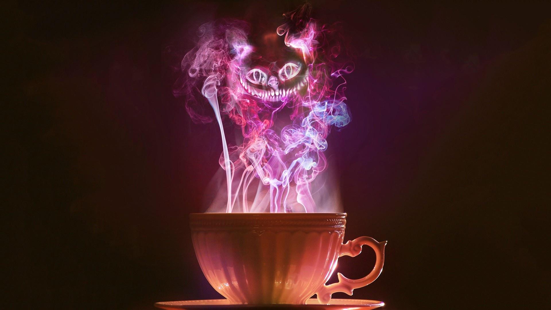 image steam tea smoke purple cheshire cat 1920x1080 jpg