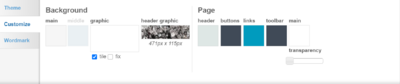 Theme designer - customize tab