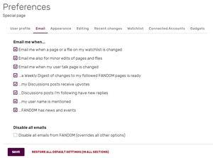 Email settings UCP