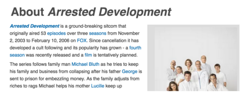 Arrested Development About Text