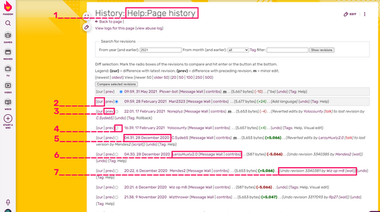 Screenshot page history