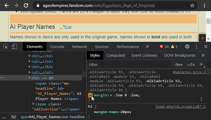 Debug custom CSS
