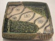 Tray from Japan, Momoyama period, late 16th century, oribe glazed stoneware, HAA